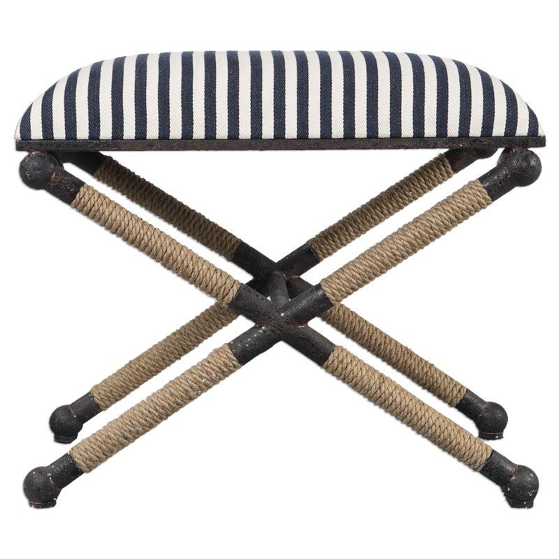 Brunon Metal Upholstered Vanity X-Based Stool