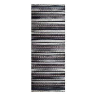 Great Price Sharla Handwoven Flatweave Wool Black/White Area Rug By World Menagerie