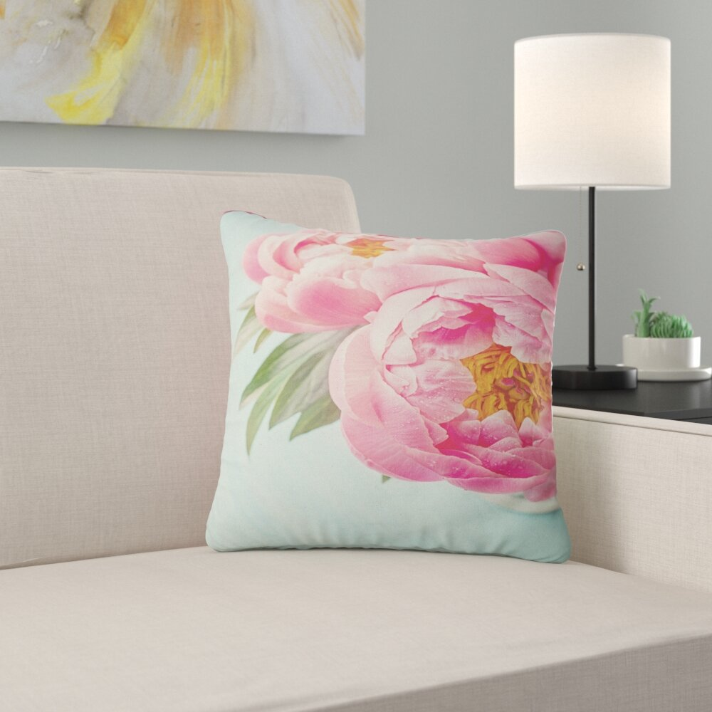 East Urban Home Floral Peony Flowers On Background Pillow Wayfair
