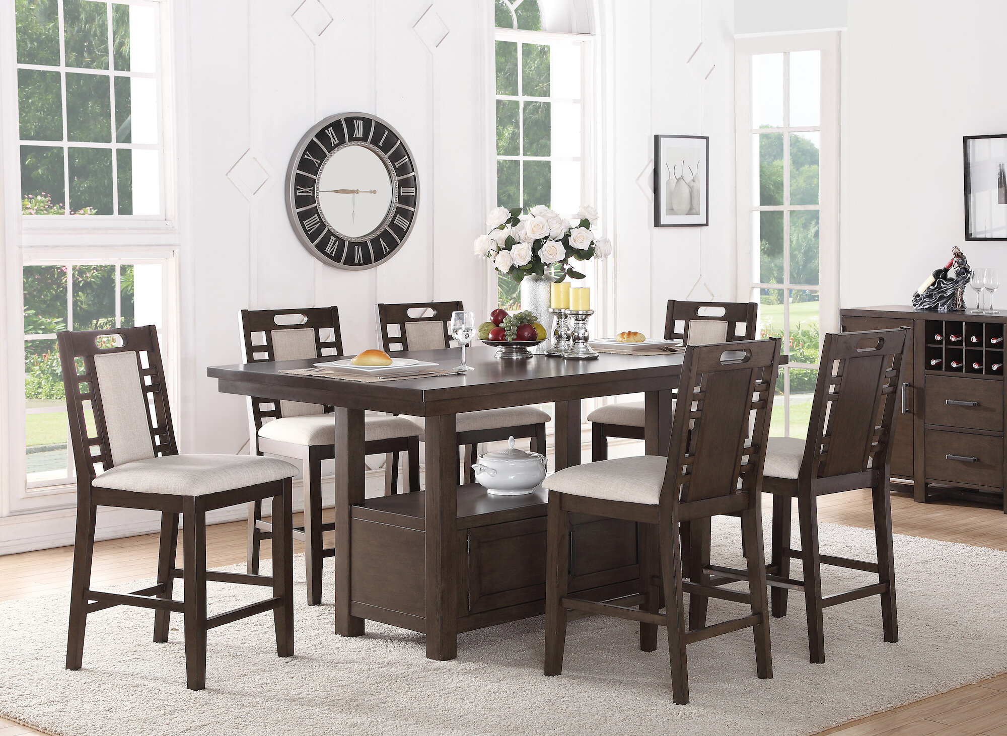 Nika 9   Person Counter Height Dining Set