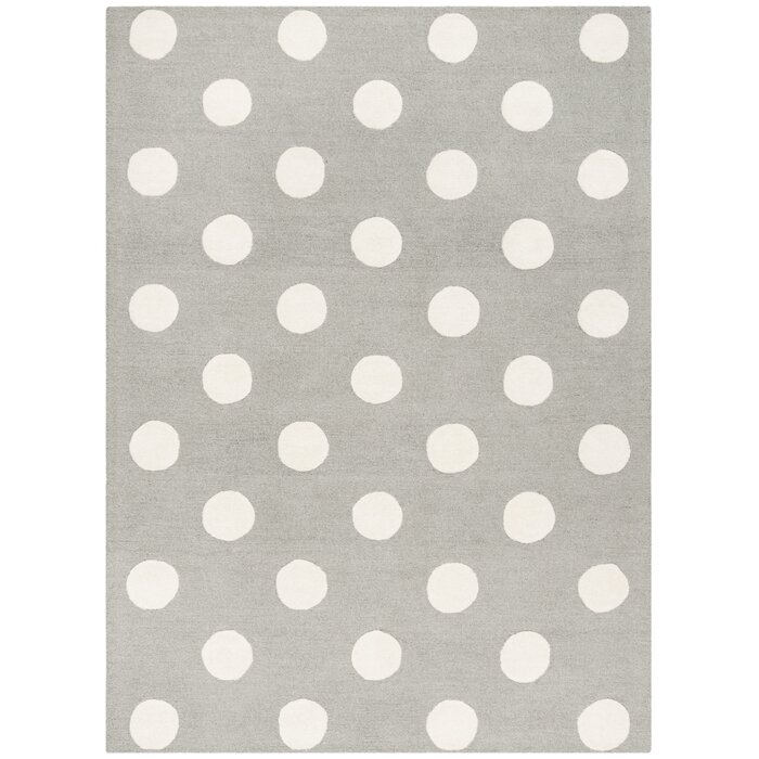 Brenner Polka Dots Handmade Tufted Wool Gray/Ivory Area Rug