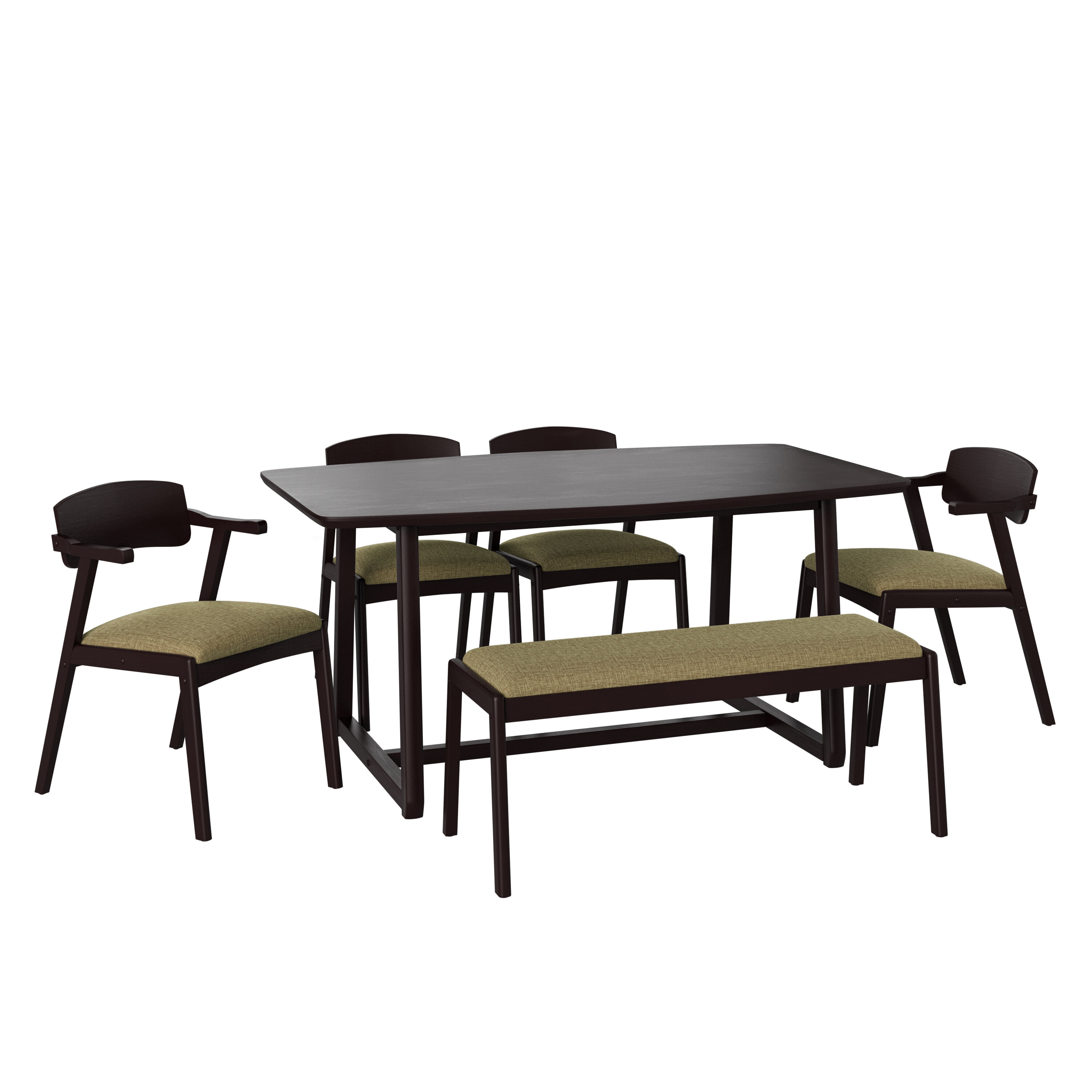 George Oliver Umstead 6 Piece Rubberwood Solid Wood Dining Set Wayfair
