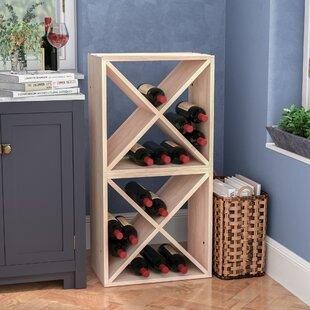 Red Barrel Studio Karnes Pine X-Cube 48 Bottle Floor Wine Rack