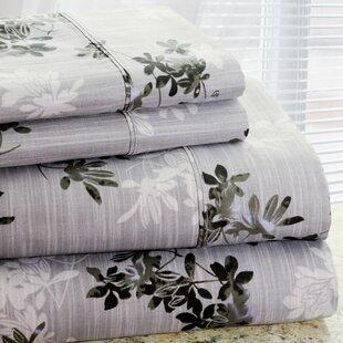 Park Avenue 350 Thread Count 4 Piece Cotton Rich Plum Flower Printed Sheet Set