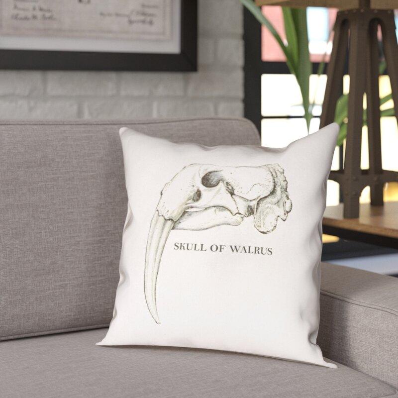 17 Stories France Walrus Skull Indoor Outdoor Throw Pillow Wayfair