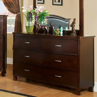 Look for Pearlene 6 Drawer Double Dresser with Mirror by Darby Home Co