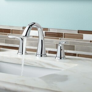 Lahara Deck Mounted Double Handle Bathroom Faucet with Drain Assembly and Diamond Seal Technology