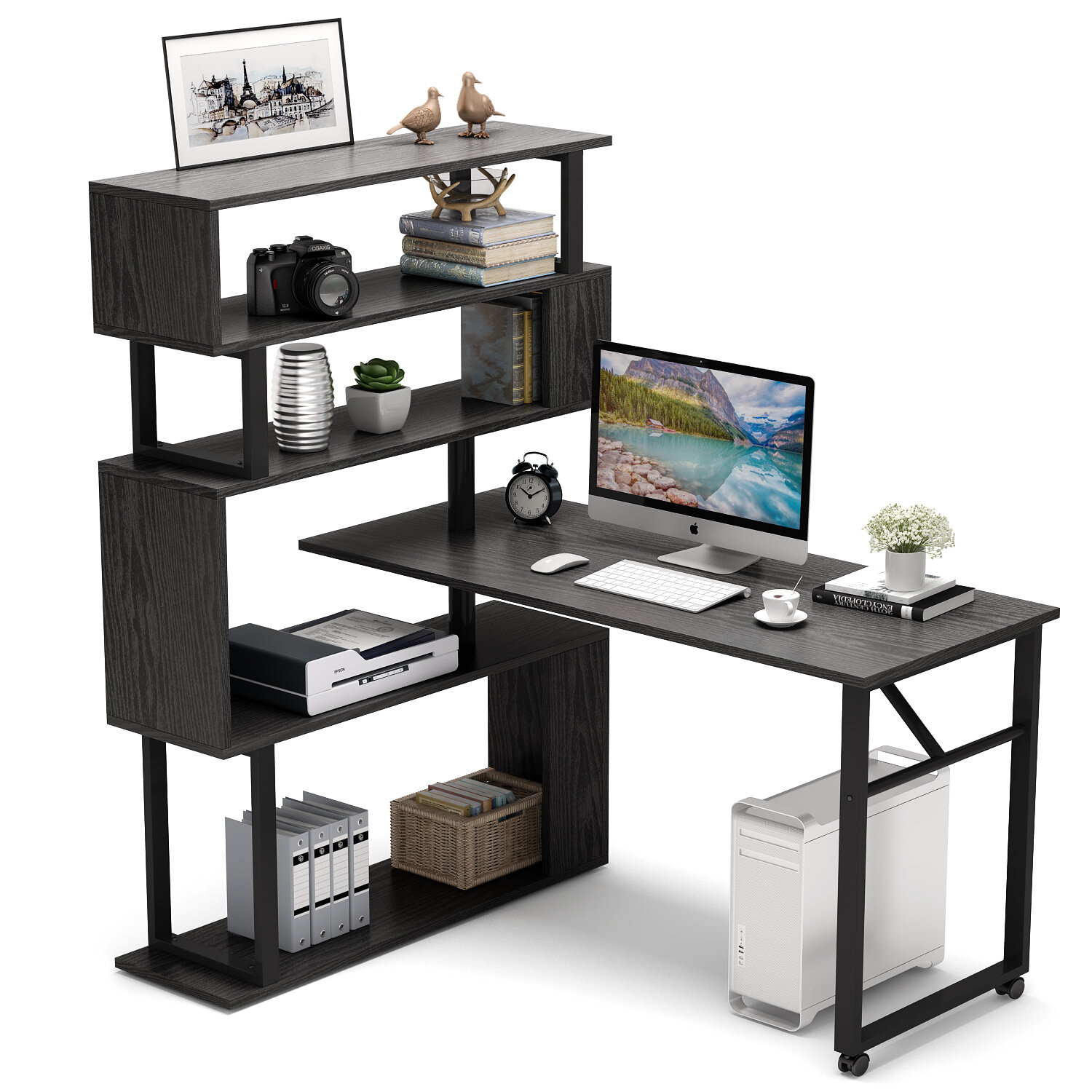 Inbox Zero Rotating L-Shaped Computer Desk With 5 Tier Shelves