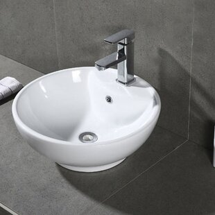 Order Elmhur Ceramic Circular Vessel Bathroom Sink with Overflow By Symple Stuff