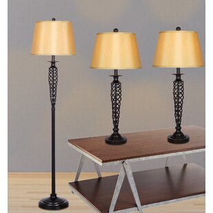 Alfort 3 Piece Table and Floor Lamp Set