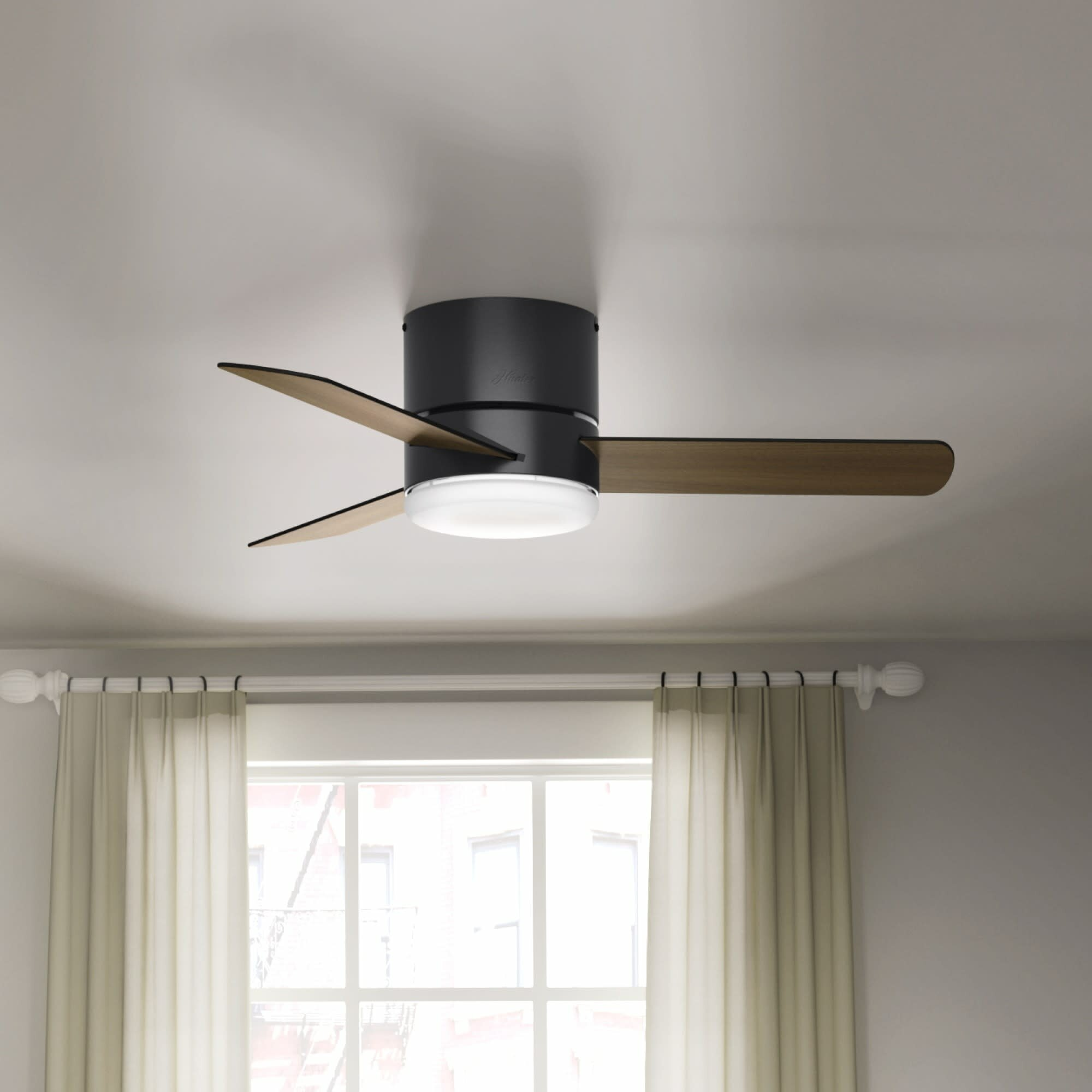 Hunter Fan 44 Minimus 3 Blade Flush Mount Ceiling Fan With Remote Control And Light Kit Included Reviews Wayfair