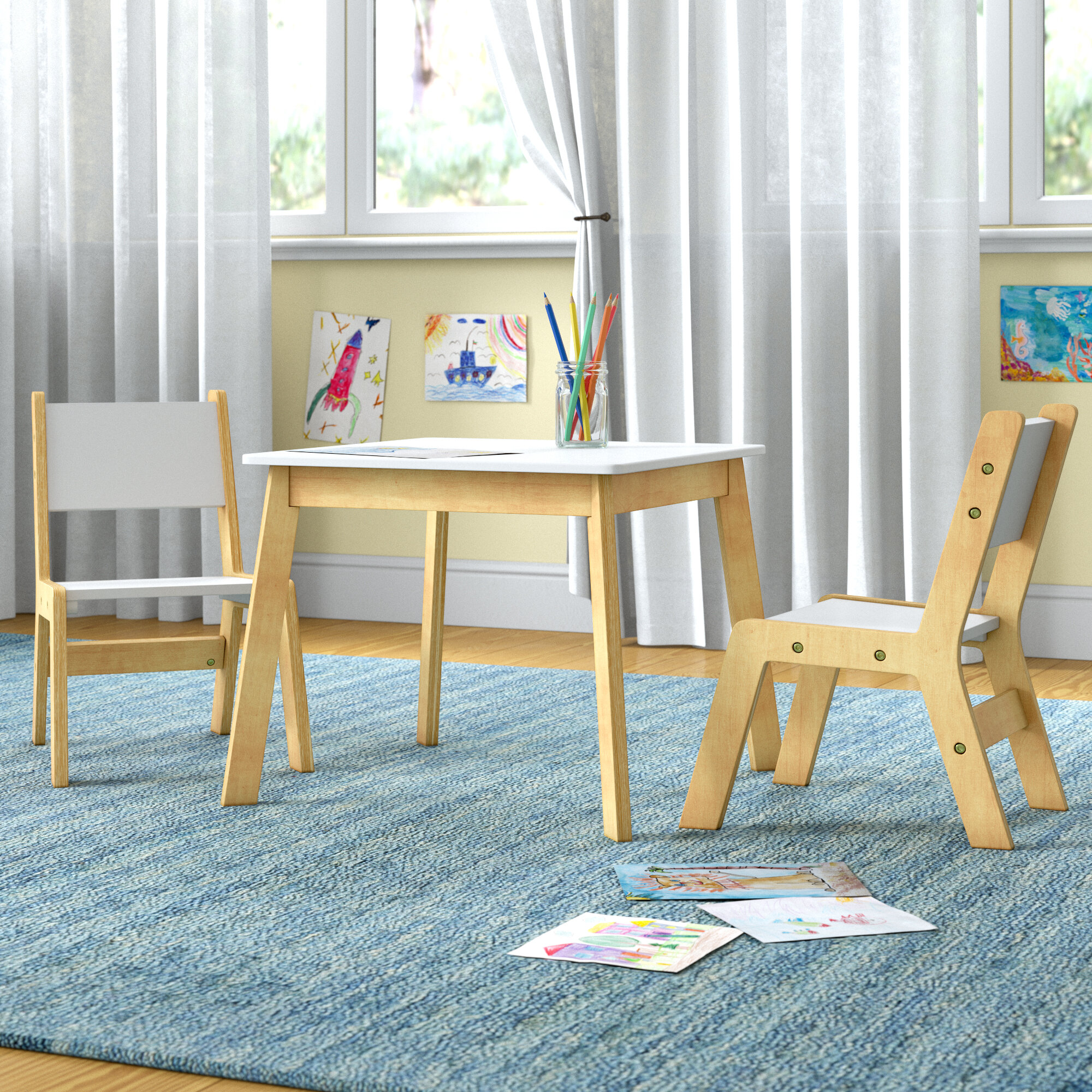 KidKraft 27025 Modern Table with 2 Chair Set White and Natural
