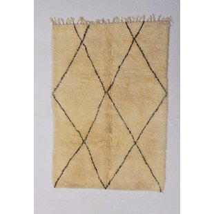 Affordable One-of-a-kind Colley Beni Ourain Hand-Woven Wool Beige/Black Area Rug ByFoundry Select