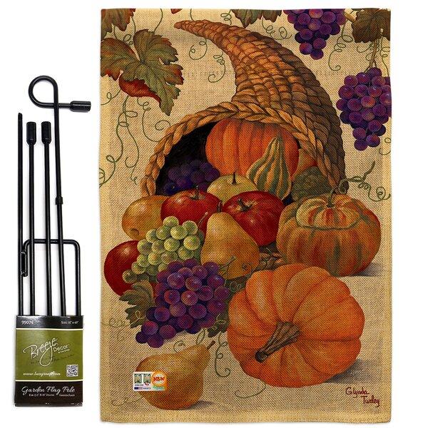 Breeze Decor Cornucopia Fall Harvest And Autumn Impressions 2 Sided Burlap 19 X 13 In Flag Set Wayfair