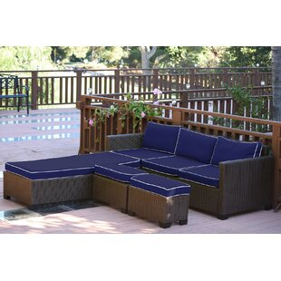 Hermann 5 Piece Rattan Sectional Seating Group Set with Cushions