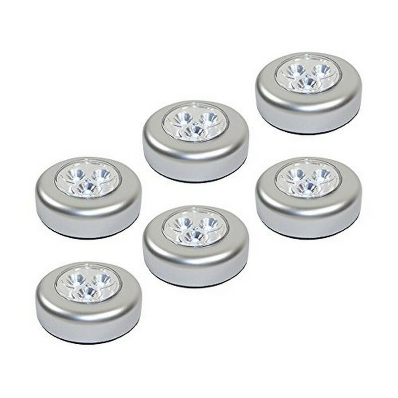 Battery Operated Stick On LED Under Cabinet Puck Light (Set Of 6)
