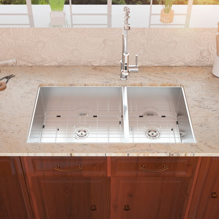 Ghomeg 33 Inch Undermount Sink Deep Double Bowl 60 40 18 Gauge Stainless Steel Kitchen Sink Wayfair