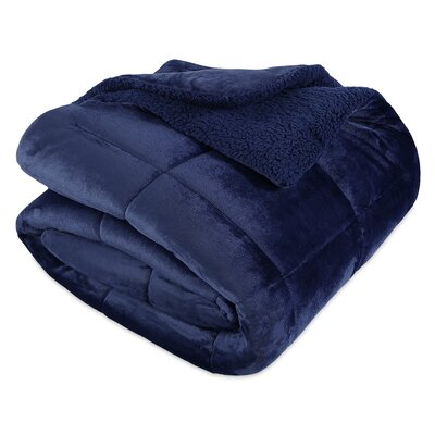 VelvetLoft 3 Piece Reversible Comforter Set Berkshire Blanket Size: Full/Queen, Color: Navy