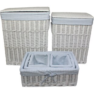 4 Piece Gingham Wicker Laundry Set By Beachcrest Home