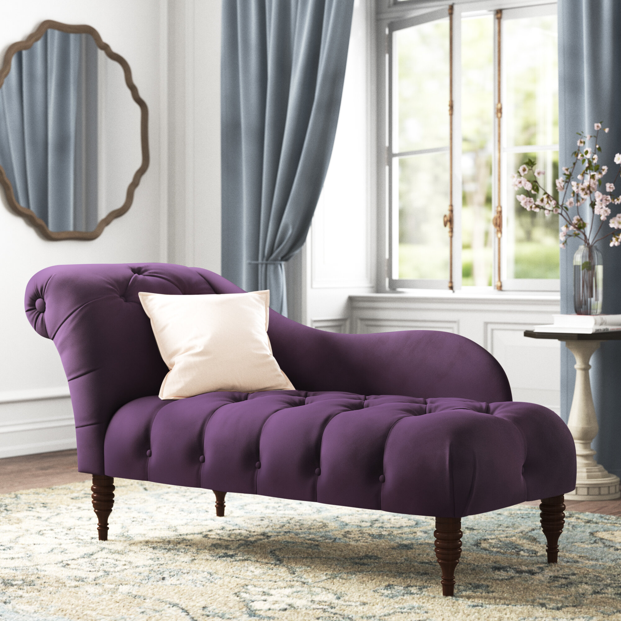 Kelly Clarkson Home Elliston Tufted Two Arm Chaise Lounge Reviews Wayfair