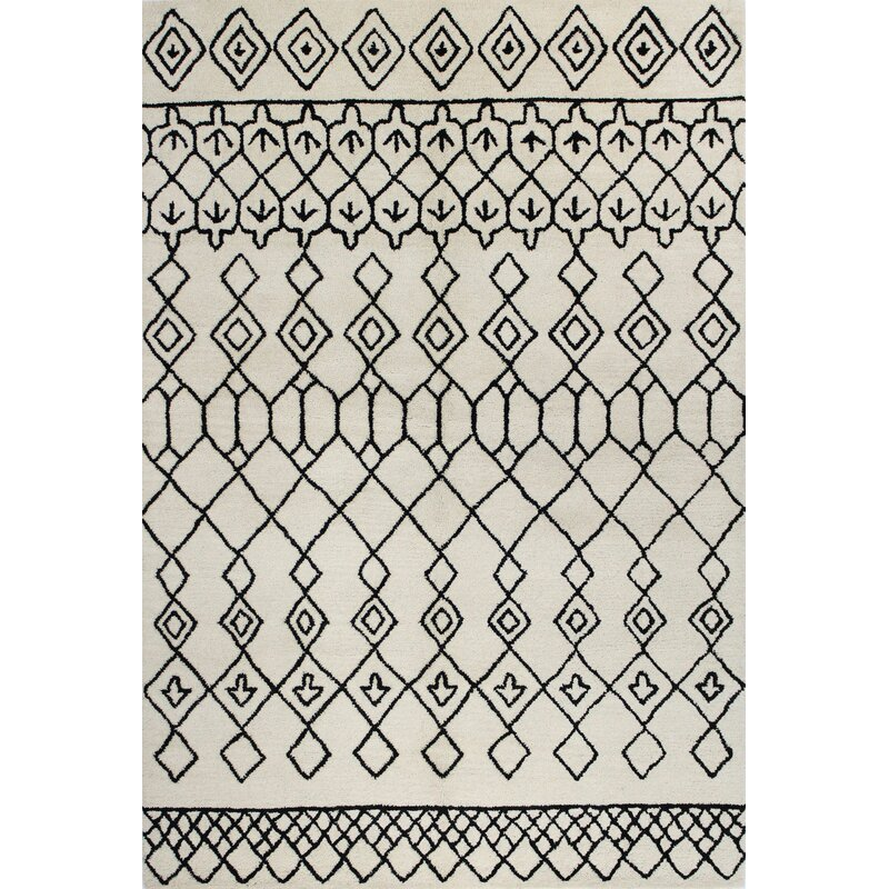 Divina Handmade Wool Ivory/Black Area Rug