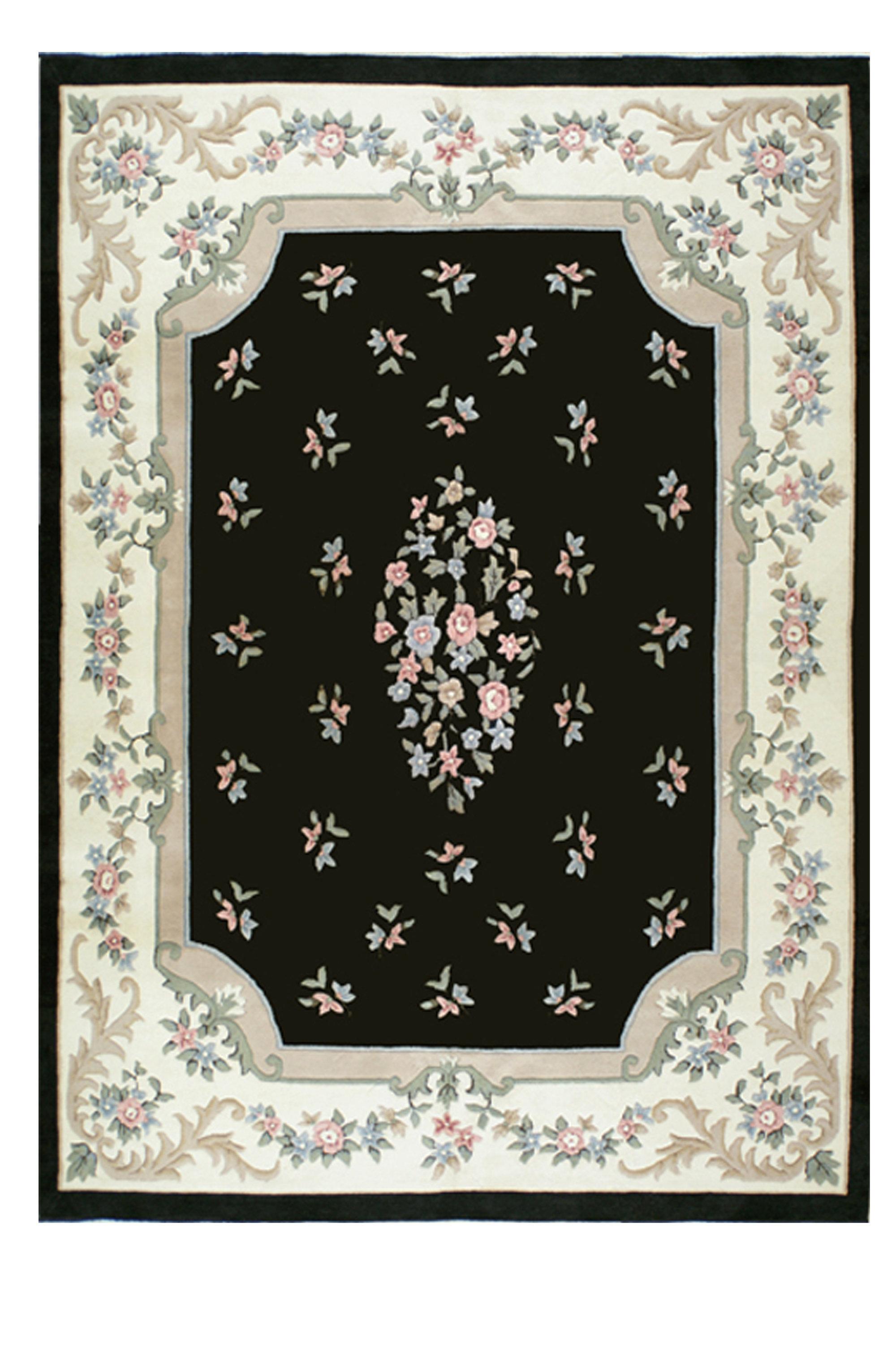 American Home Rug Co Oriental Handmade Tufted Wool Black Ivory Rose Area Rug Wayfair