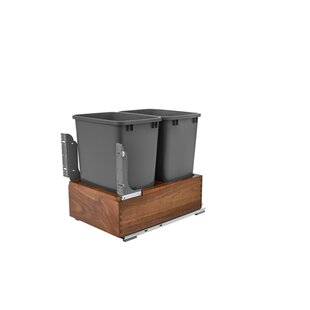 Double Waste Container Trash Can Pull Out Drawer by Rev-A-Shelf