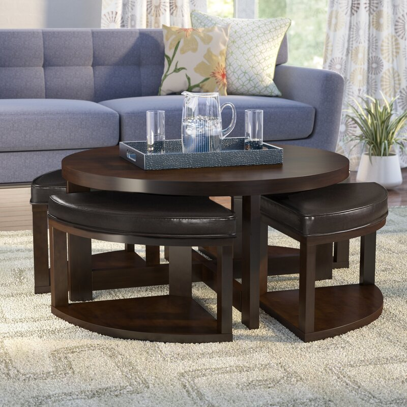 Swineford Coffee Table With 4 Nested Stool