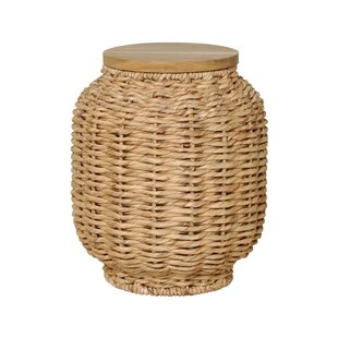 Emissary Home and Garden Water Hyacinth Wood Lantern Stool
