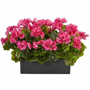 Silk Geranium Plant Floral Arrangement in Planter
