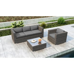 Orren Ellis Gilleland 3 Piece Sofa Set with Sunbrella Cushion