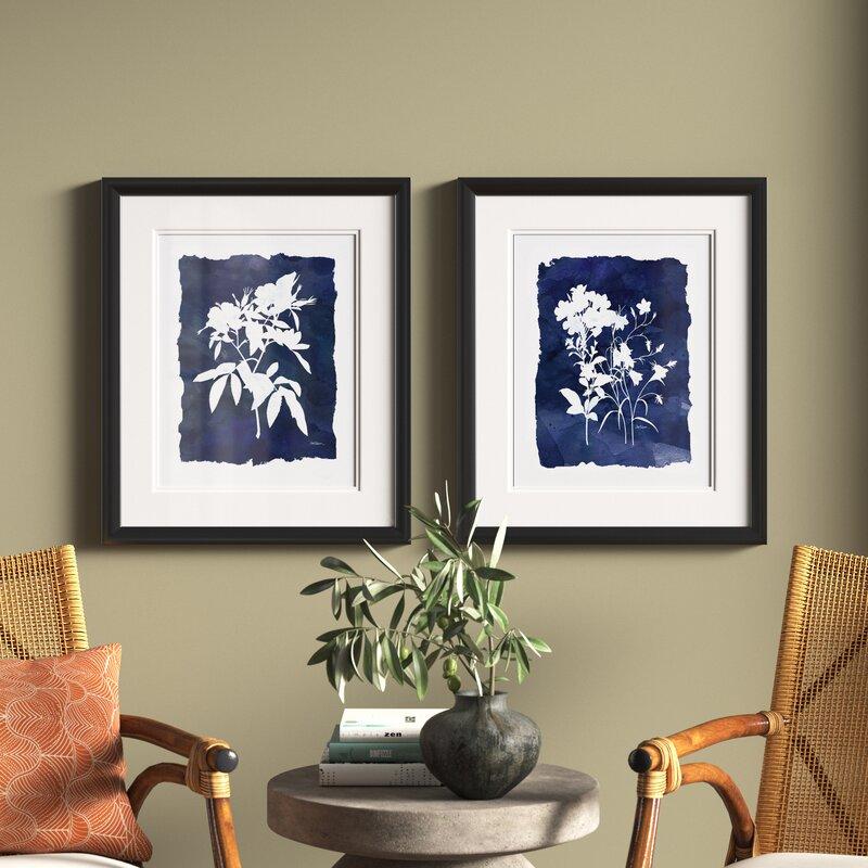 Indigo Botanical 2 Piece Picture Frame Set Print Set On Paper Reviews Joss Main
