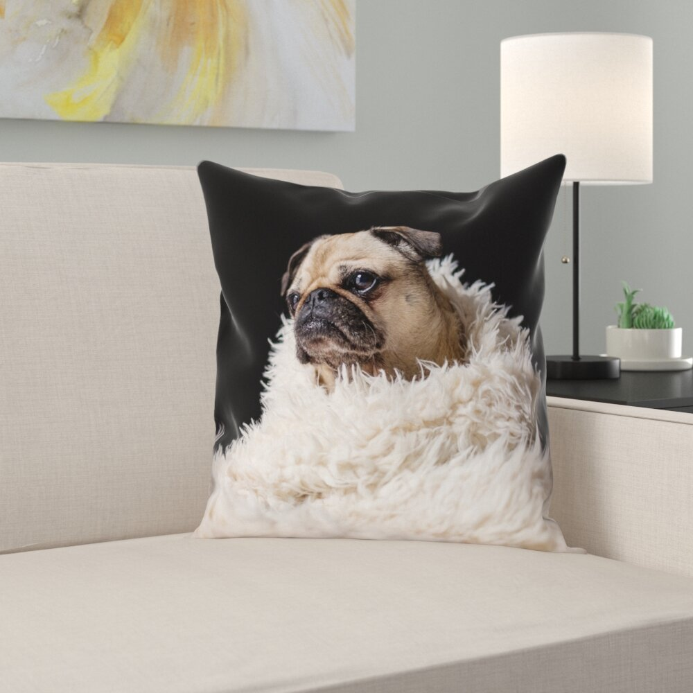 Latitude Run Karlos Pug In Blanket Square Pillow Cover With Zipper Wayfair