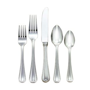 Vintage Jewel Frosted 5 Piece 18/10 Stainless Steel Flatware Set, Service for 1