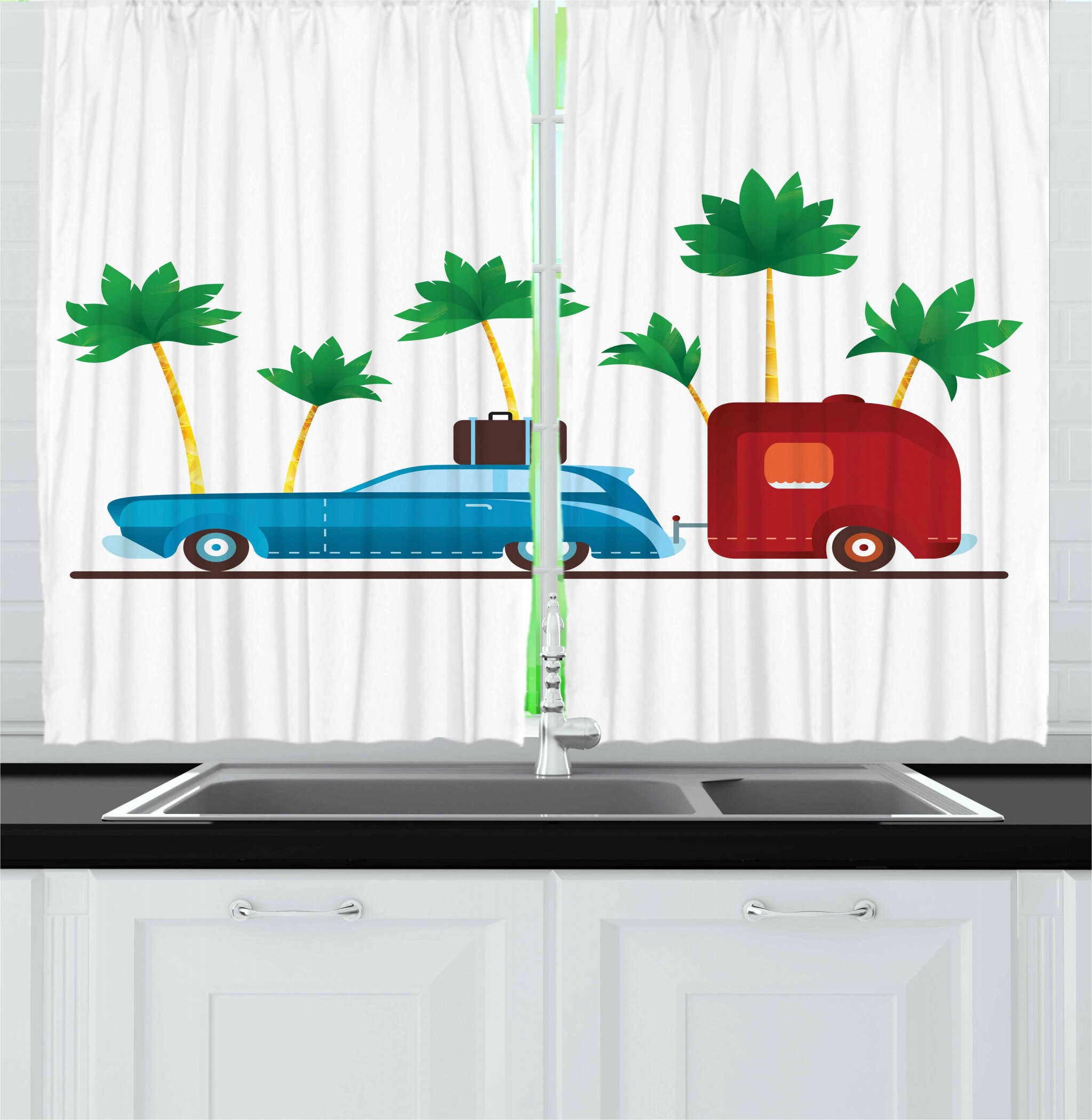 East Urban Home Ambesonne Happy Camper Kitchen Curtains Colourful Travel Cartoon Tropical Palm Trees With Retro Vehicle And Suitcase Window Drapes 2 Panel Set For Kitchen Cafe Decor 55 X 39 Multicolor