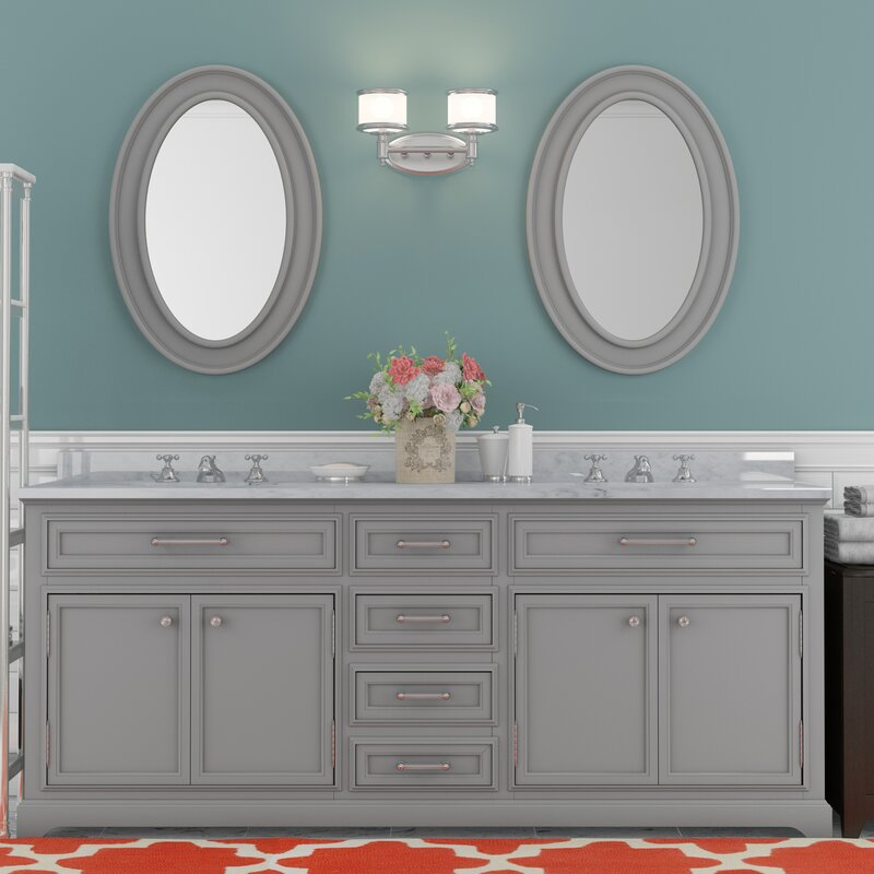 Bergin 72 Double Sink Bathroom Vanity Set With Mirror And Faucets