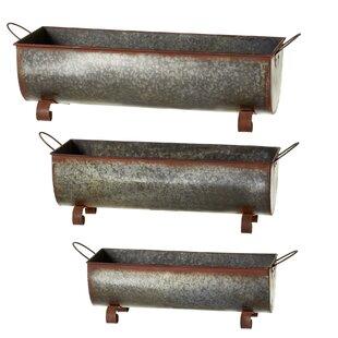 Gracie Oaks Albinson Rusted Galvanized Trough 3-Piece Metal Planter Box Set
