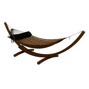 Sandy Teak Oil Double Tree Hammock with Stand by Bay Isle Home