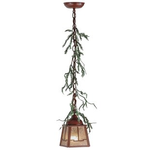 Meyda Tiffany Greenbriar Oak Pine Branch Valley View 1-Light Lantern Pendant