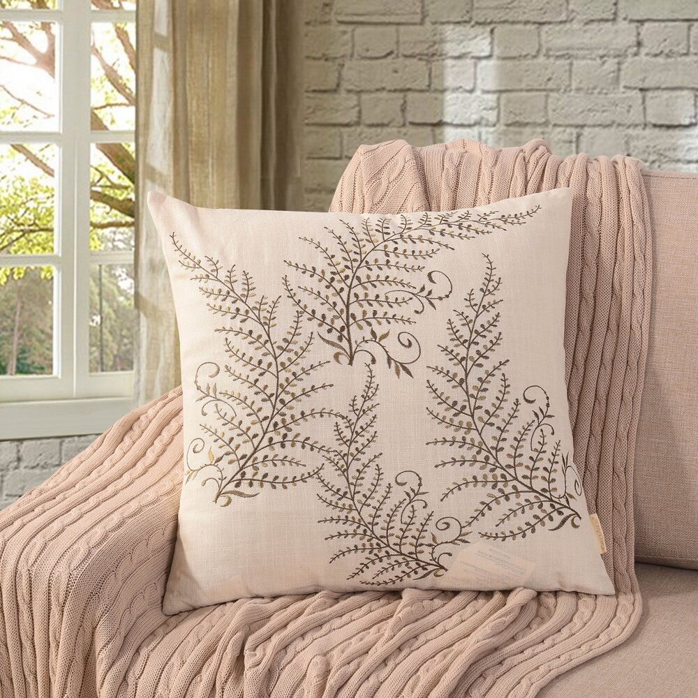 Charlton Home Gisela Magic Trees Embroidered Throw Pillow