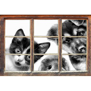Funny Trio Dog Cat Guinea Pig Wall Sticker By East Urban Home