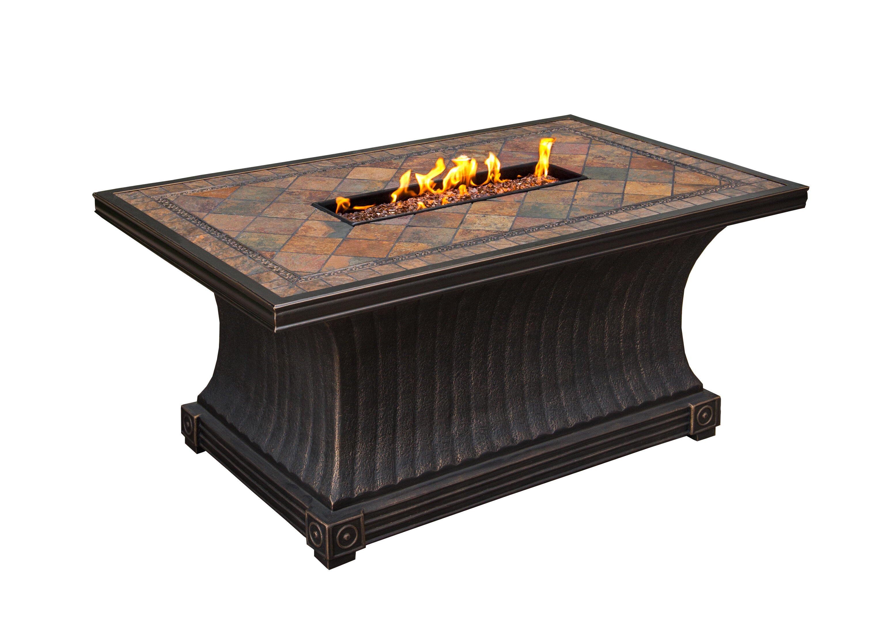 Winston Porter Sanjay Aluminum Propane Fire Pit Table Wayfair Ca