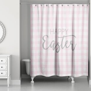 Ketchum Happy Easter Buffalo Check Single Shower Curtain