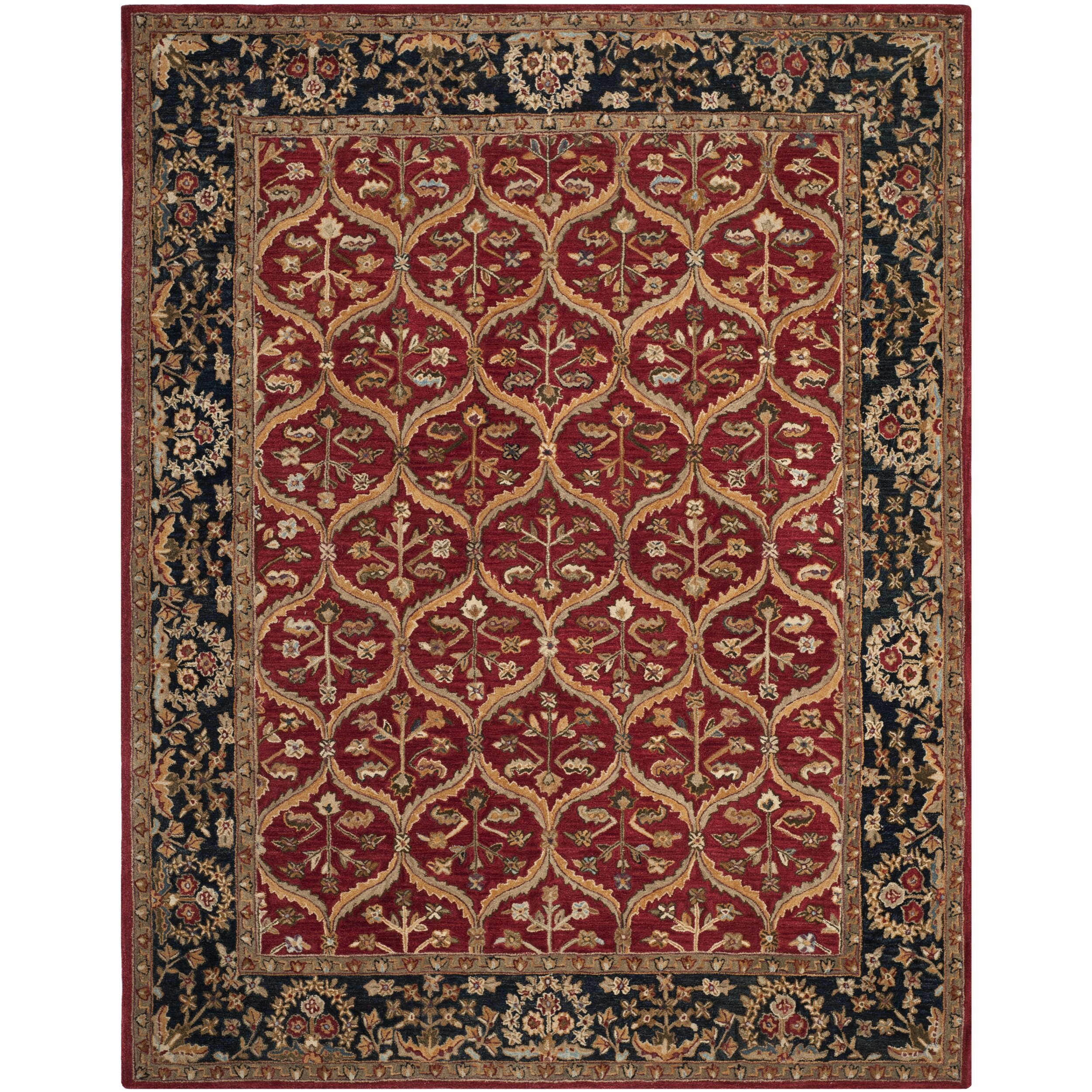 Charlton Home Tingley Hand Tufted Wool Red Navy Beige Area Rug Reviews Wayfair