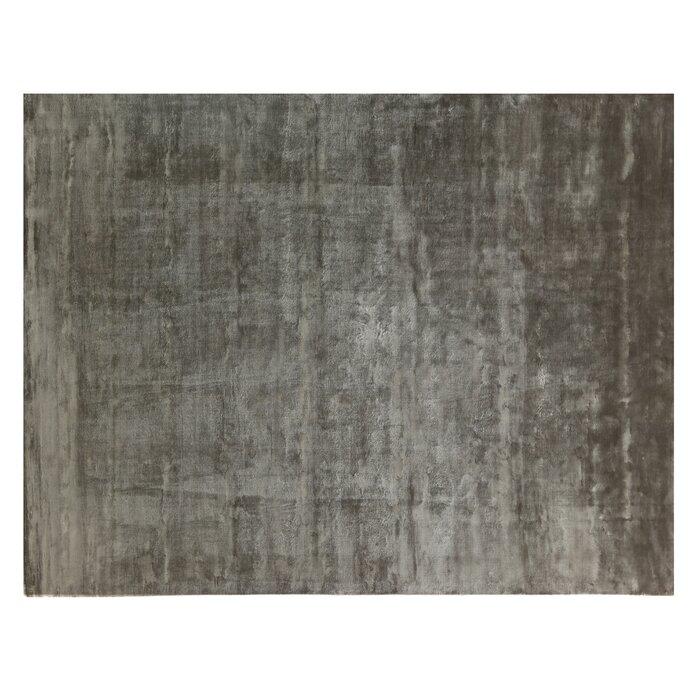 Plain Dove Hand Knotted Silk Dark Grey Area Rug