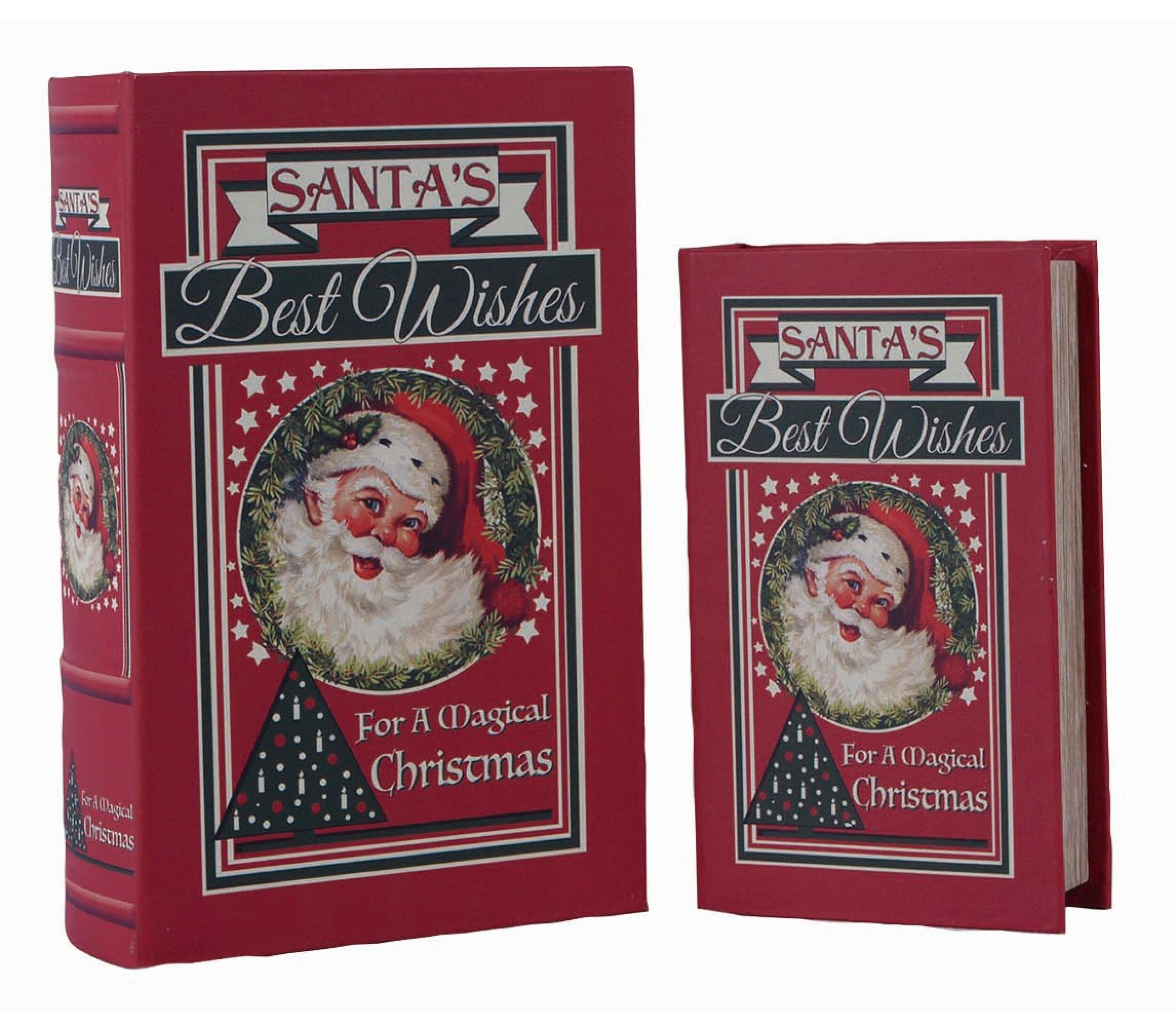 The Holiday Aisle Granton Wood Christmas Santa S 2 Piece Book Box Set Wayfair
