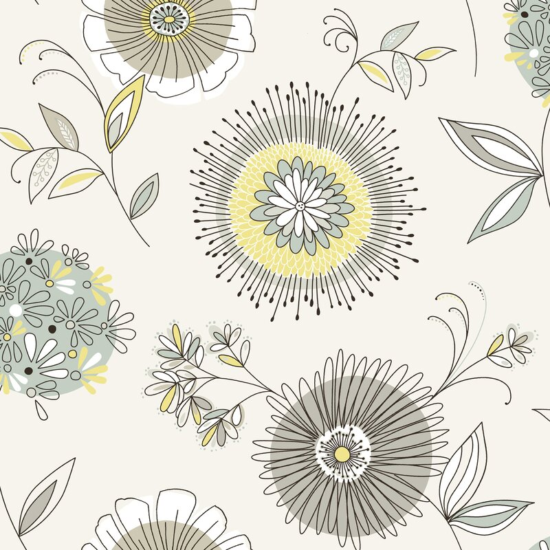 """Brewster Home Fashions Simple Space II Maisie 33' x 20.5"""" Floral 3D Embossed Wallpaper"""