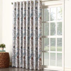 Auburn Nature/Floral Semi Sheer Thermal Grommet Single Curtain Panel  Sliding Door Curtain