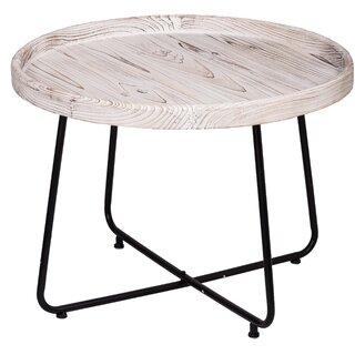 Charlize Organic Elements Rustic Cocktail Table - Matte Black, Wash White by Gracie Oaks SKU:BB991762 Check Price