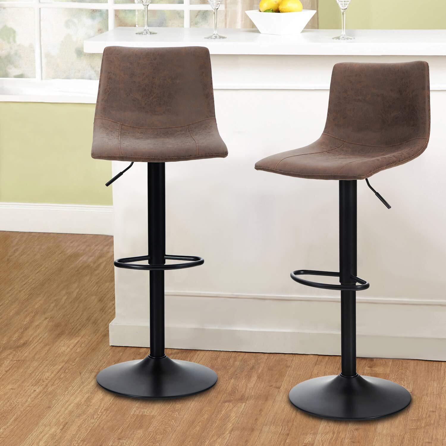 Swivel Bar Stools Set Of 9 For Kitchen Counter Adjustable Counter Height  Bar Chairs With Back Tall Barstools Pu Leather Kitchen Island Stools